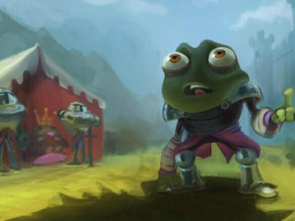 2D Frog Warrior Cartoon Illustration Thumbnail