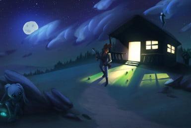 2D Hiding Alien Character Illustration Thumbnail