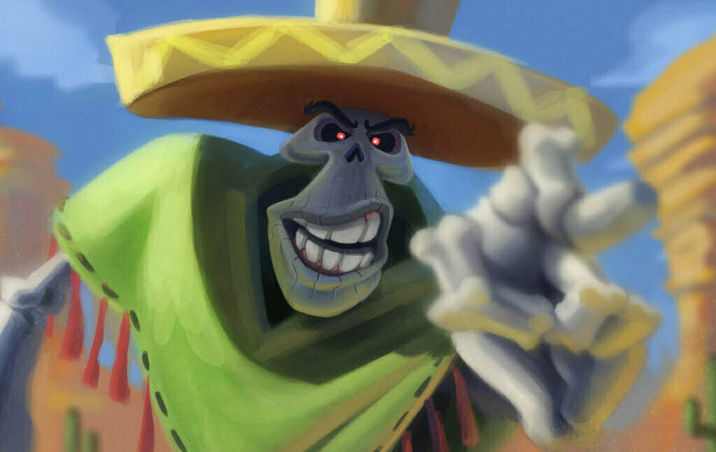 2D Mexican Skeleton Bandit Character Illustration Thumbnail