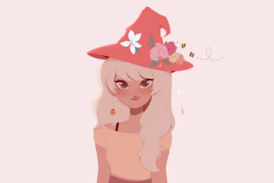 2D Orange Bee Witch Character Illustration Thumbnail