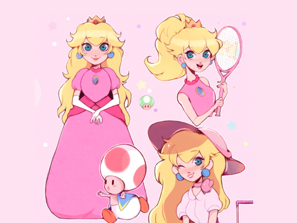 2D Princess Peach Video Game Character Illustration Thumbnail