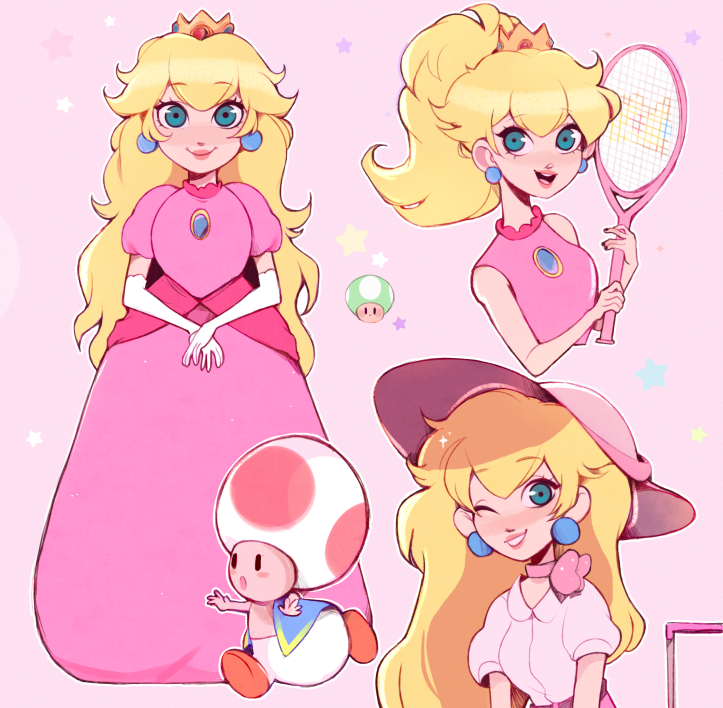 2D Princess Peach Video Game Character Illustration