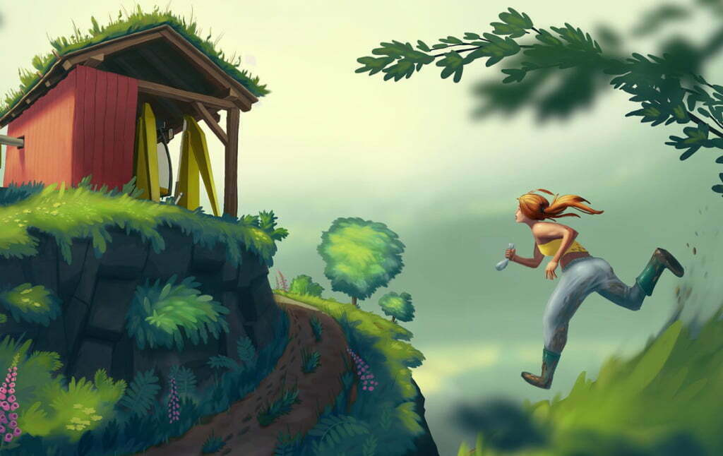 2D Running Home Cartoon Illustration Thumbnail