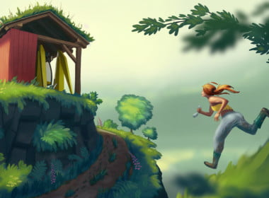 2D Running Home Cartoon Illustration Thumbnail