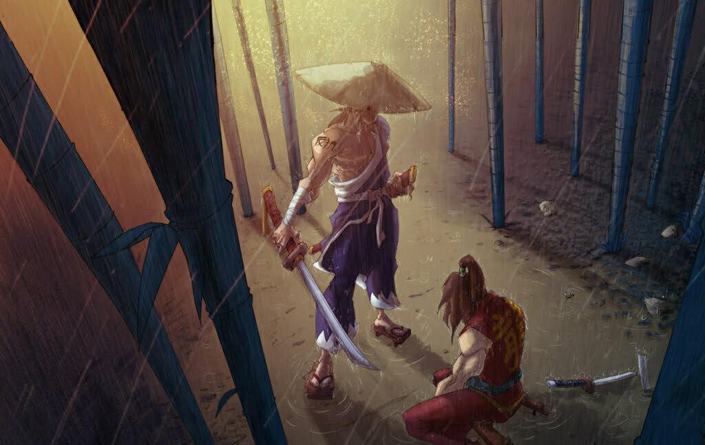 2D Samurai Sword Fight Cartoon Illustration Thumbnail