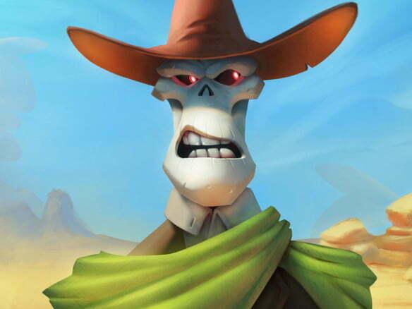 2D Skeleton Sheriff Character Illustration Thumbnail