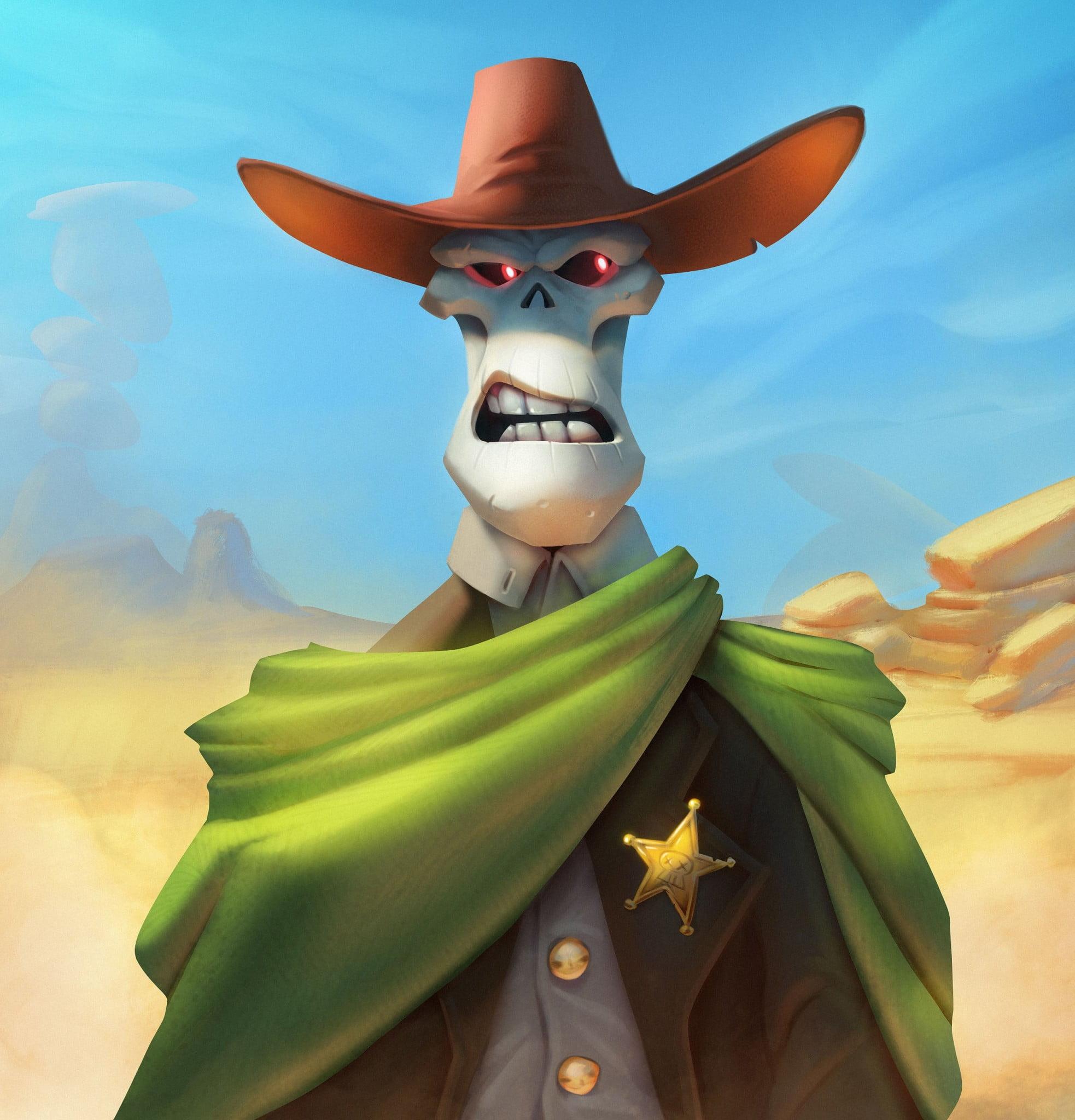2D Skeleton Sheriff Character Illustration