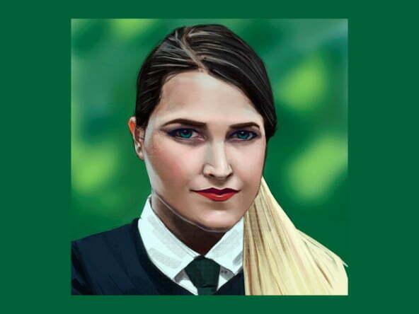 2D Smiling School Girl Portrait Illustration Thumbnail