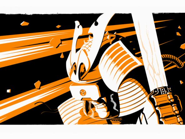 2D Space Shogun Warrior Character Illustration Thumbnail