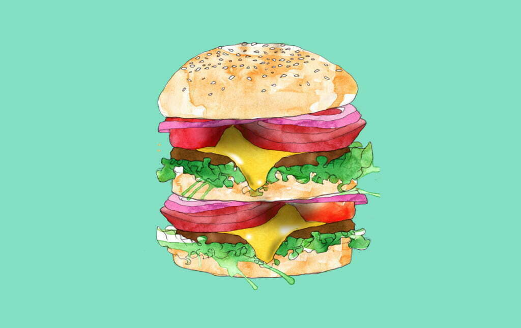 2D Stylised Burger Illustration Thumbnail