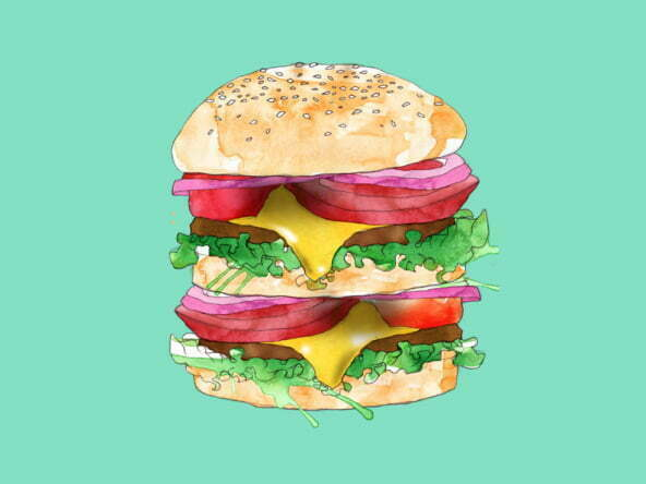 2D Stylised Burger Illustration Thumbnail