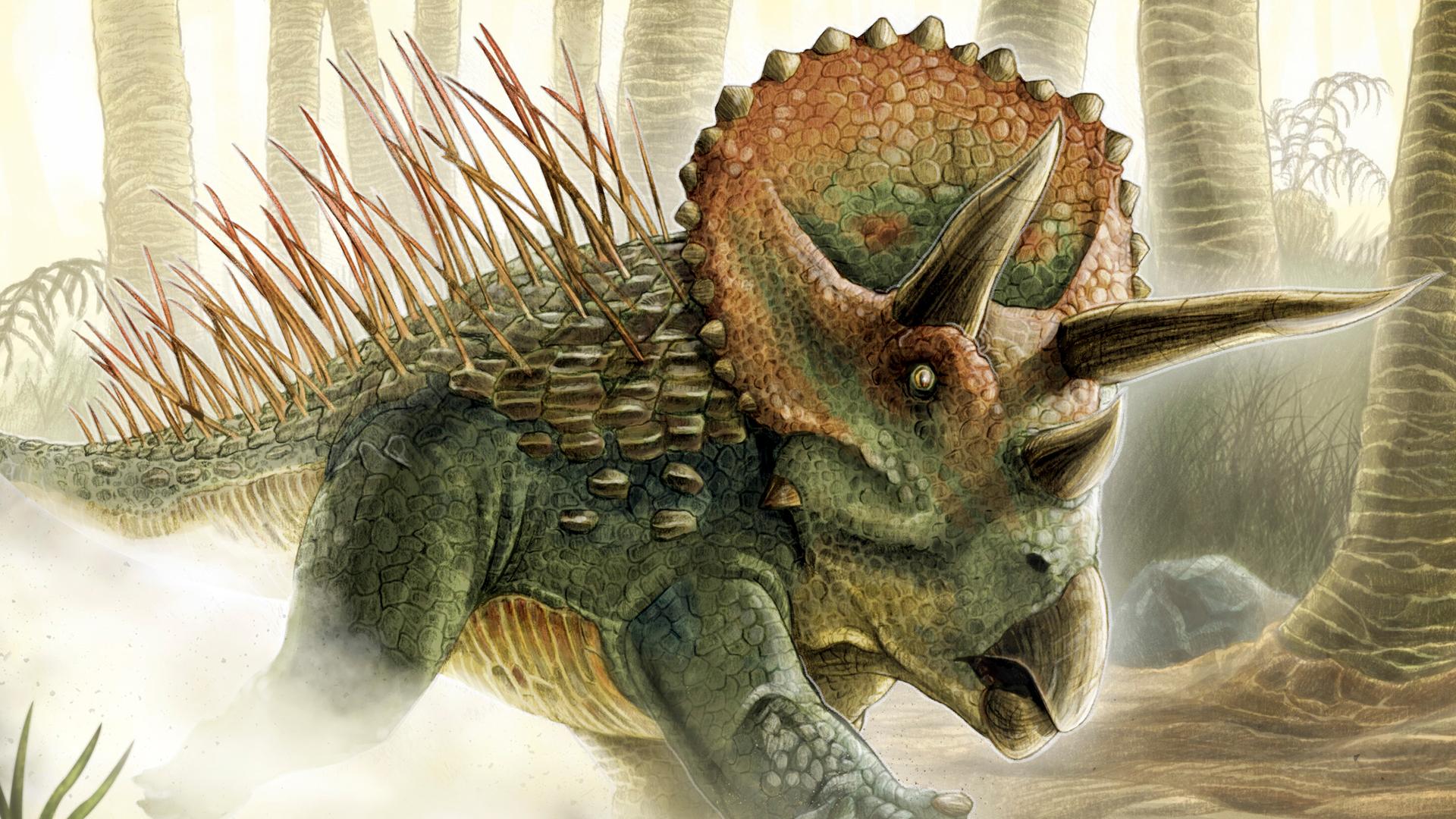 2D Styracosaurus Dinosaur Creature Illustration