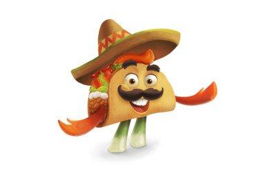 2D Taco Dude Food Character Illustration Thumbnail