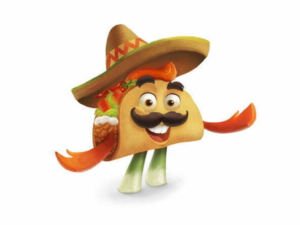 2D Taco Dude Food Character Illustration Thumbnail