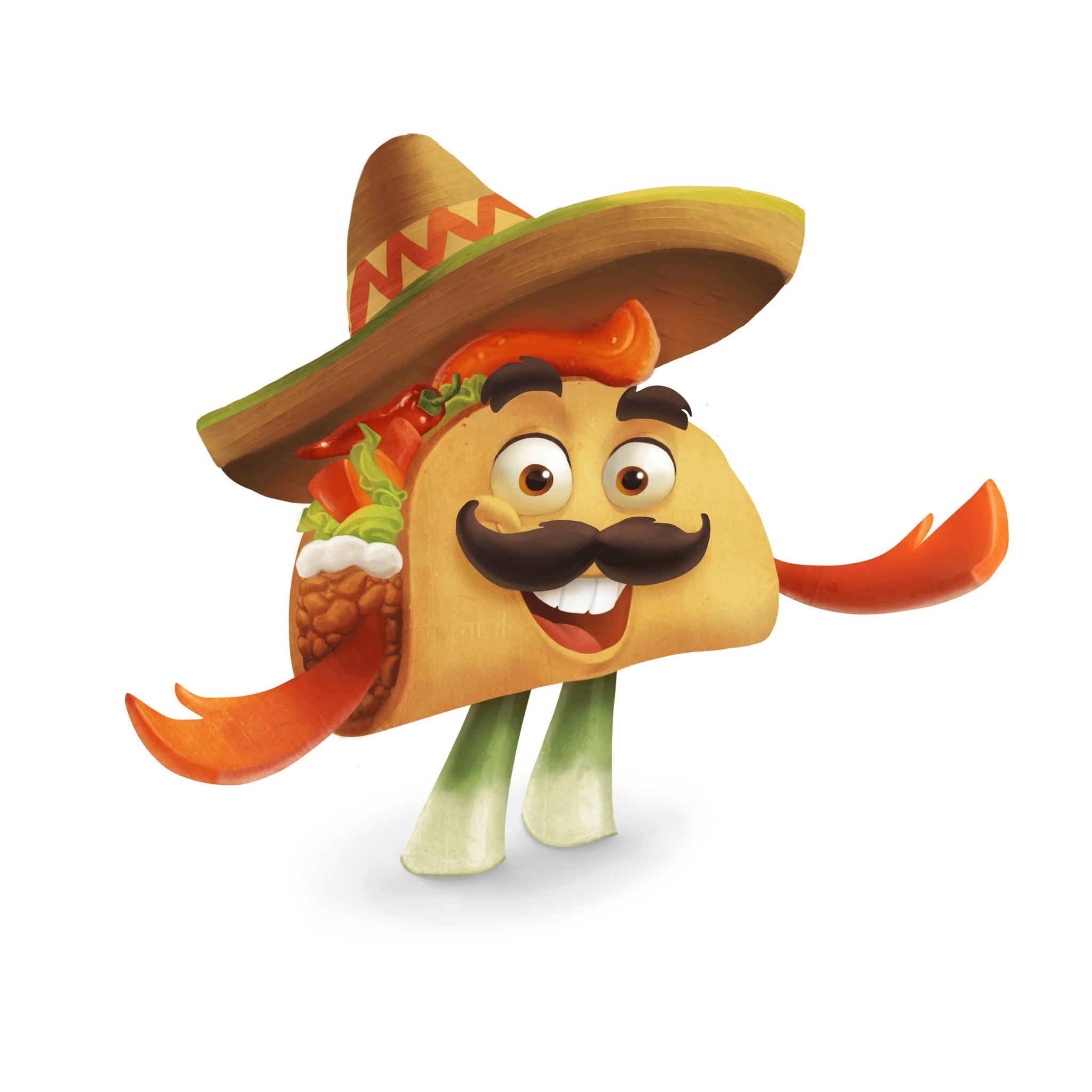 2D Taco Dude Food Character Illustration