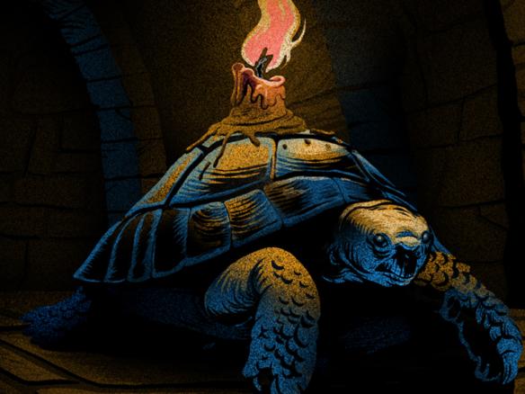 2D Tortoise Candle Illustration Thumbnail