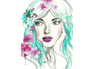 2D Watercolour Flower Girl Character Illustration Thumbnail