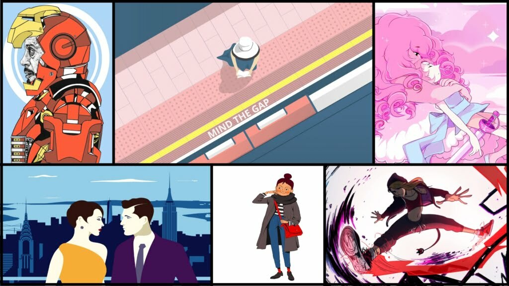 2d illustration style focus collage of images