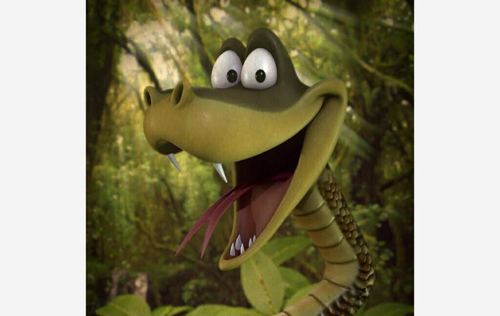 3D Cartoon Snake Character Illustration Thumbnail