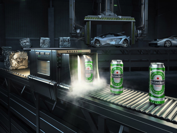 3D Heineken Conveyor Belt Drink Illustration Thumbnail