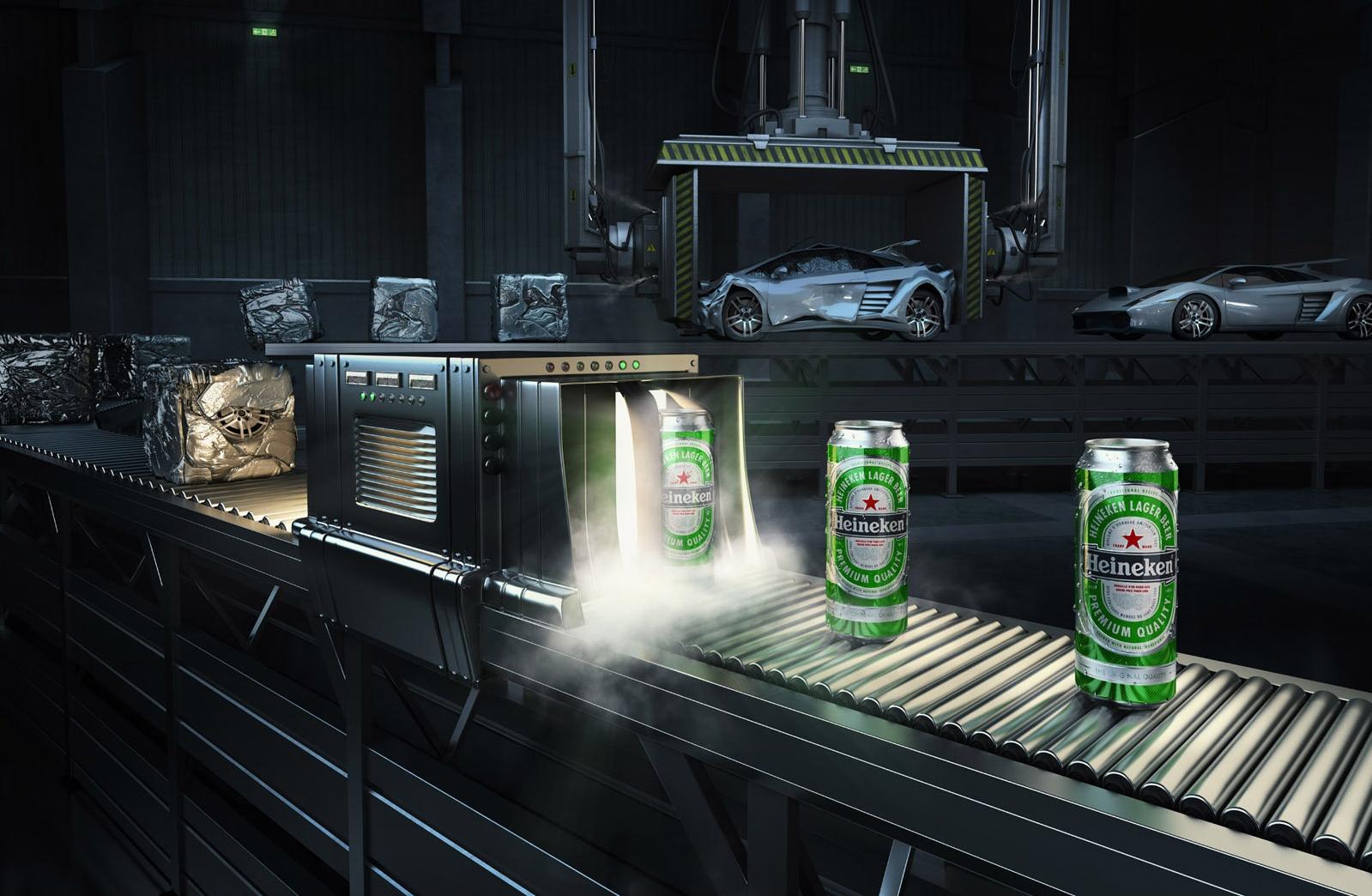 3D Heineken Conveyor Belt Drink Illustration