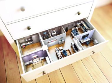 3D Ikea Chest Advertising Illustration Thumbnail