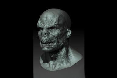 3D Zombie Creature Head Character Illustration Thumbnail