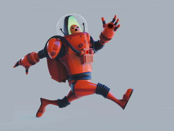 3D Avocado Astronaut Character Illustration Thumbnail