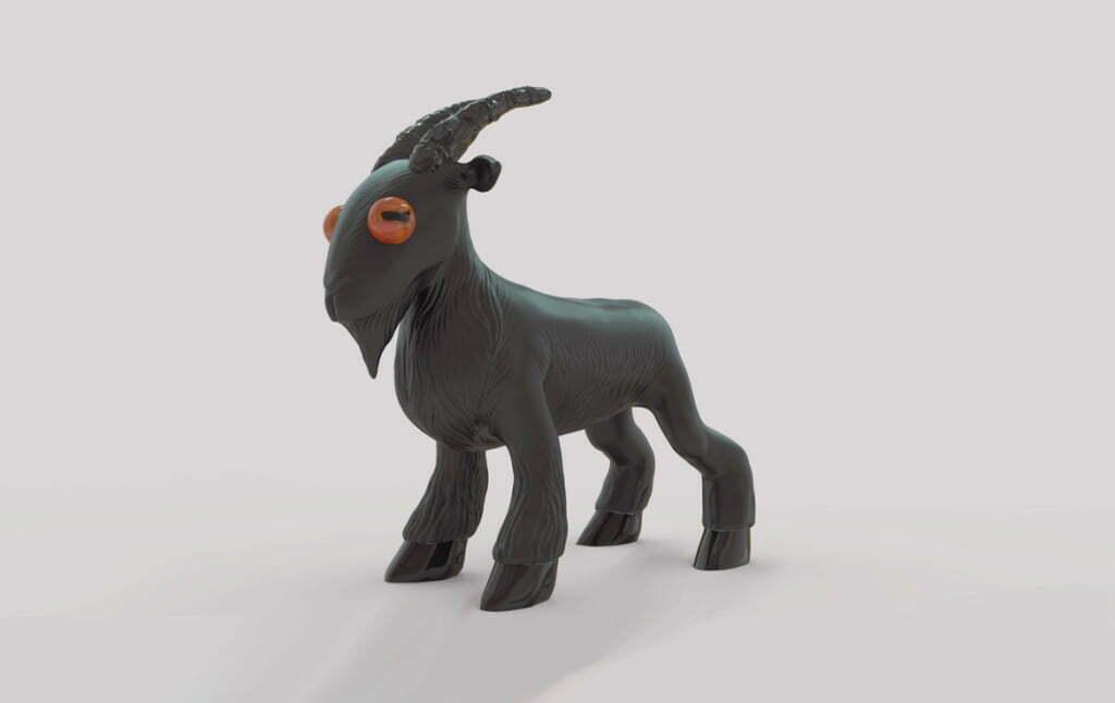 3D Black Goat Cartoon Creature Illustration Thumbnail