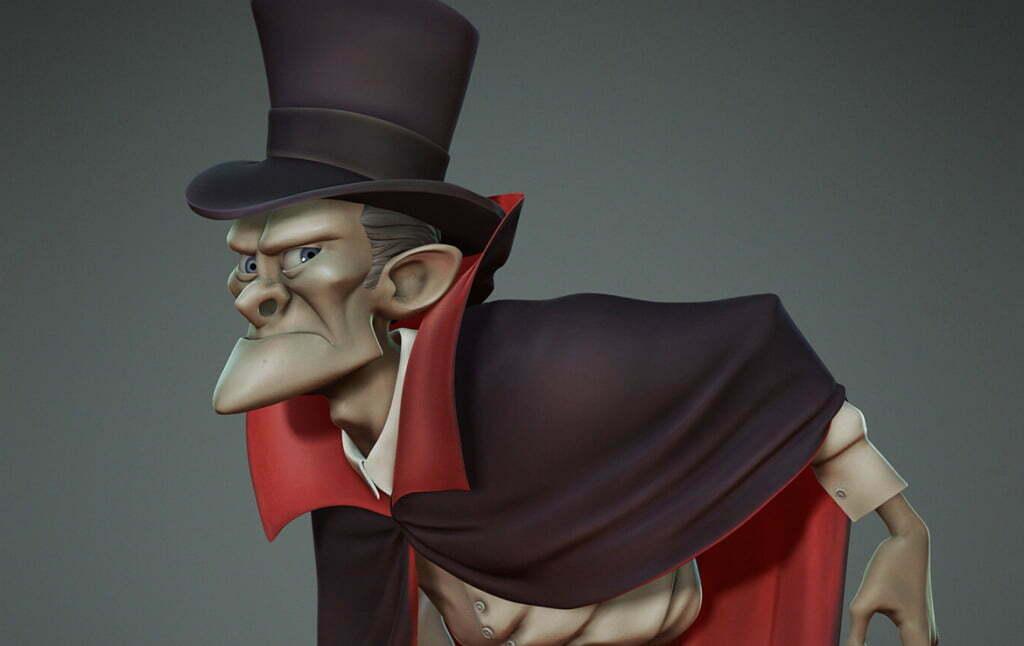 3D Creepy Gentleman Character Illustration Thumbnail