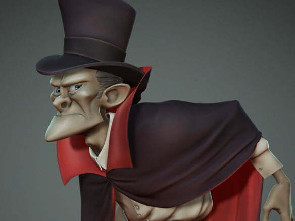 3D Creepy Gentleman Character Illustration Thumbnail