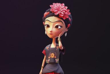 3D Frida Kahlo Stylised Character Illustration Thumbnail