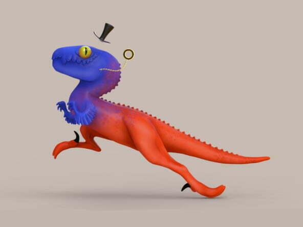 3D Gentleman Raptor Character Illustration Thumbnail