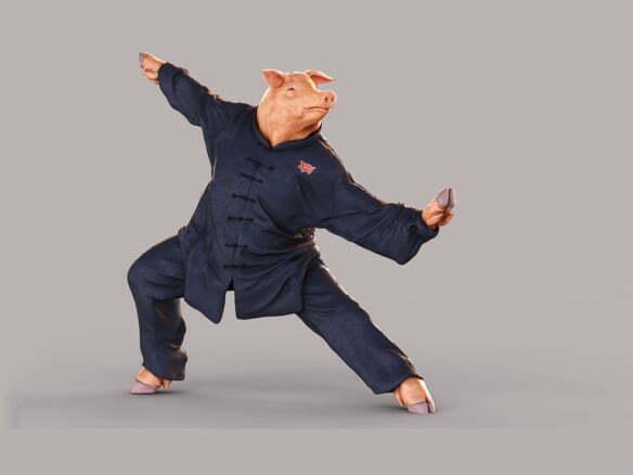 3D Kung Fu Pig Character Illustration Thumbnail