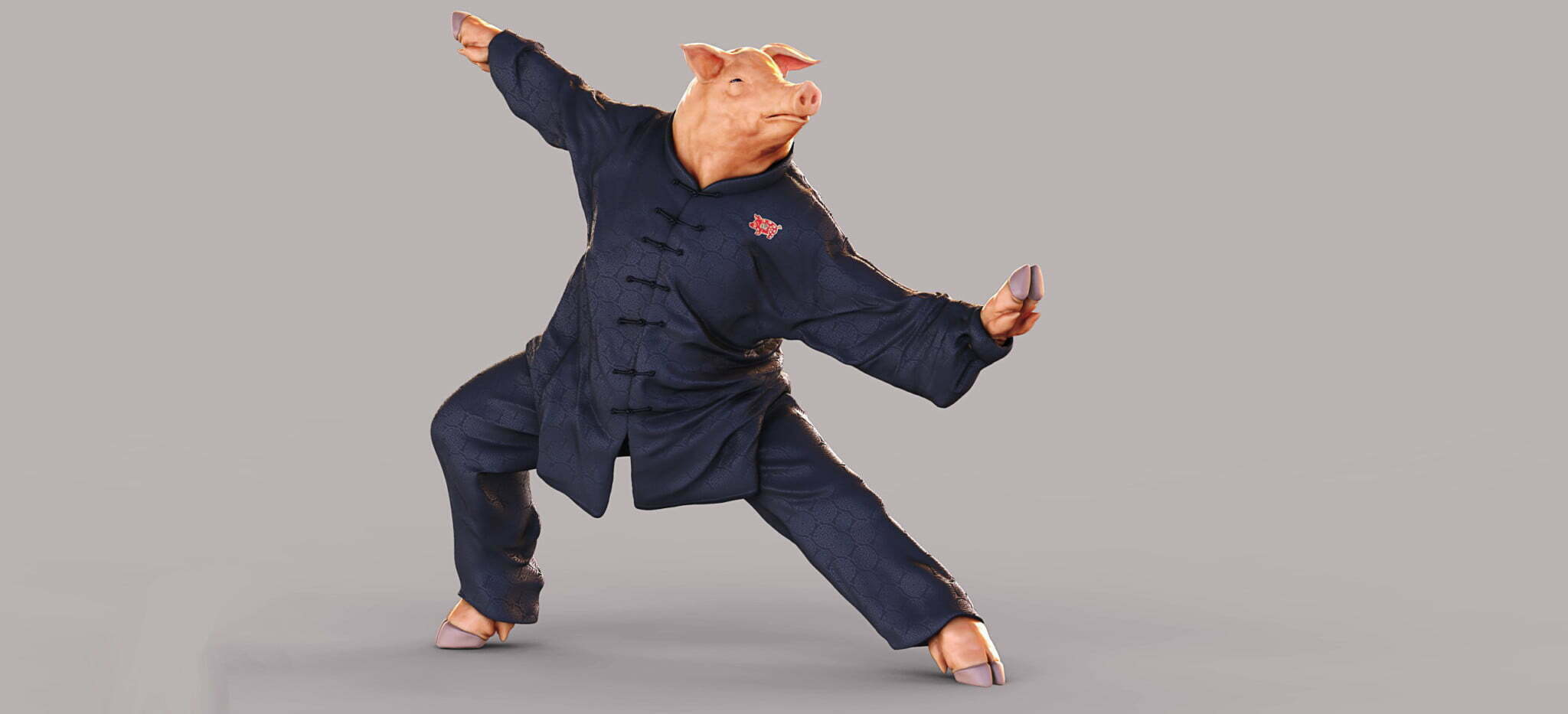 3D Kung Fu Pig Character Illustration