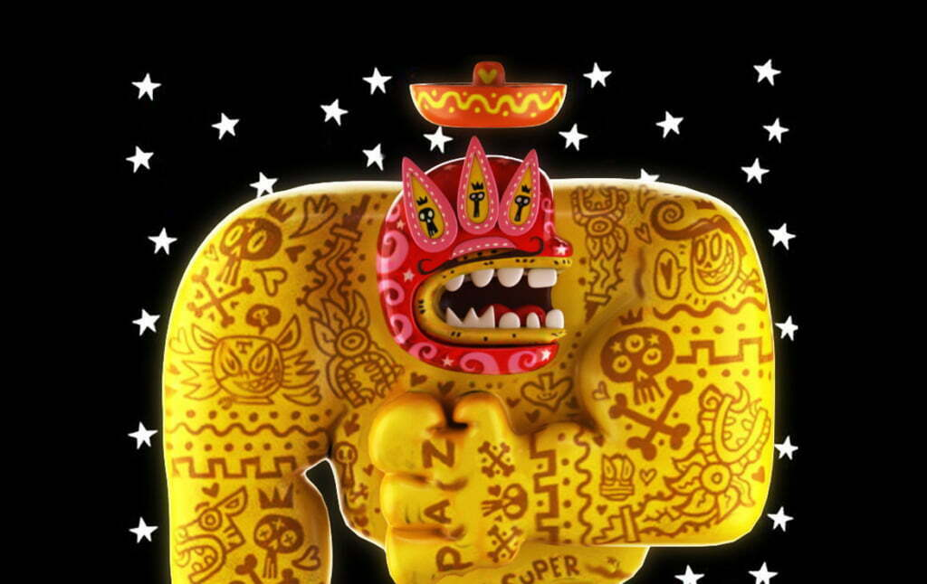 3D Mexican Luchador Character Illustration Thumbnail