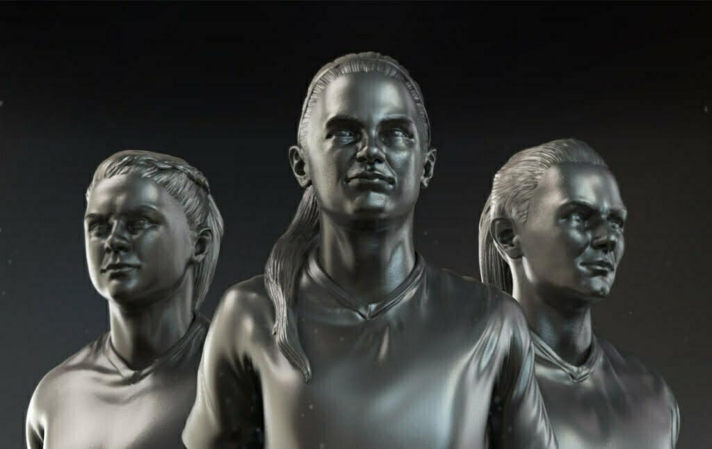 3D Women Football Players Character Illustration Thumbnail