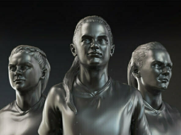 3D Women Football Players Character Illustration Thumbnail