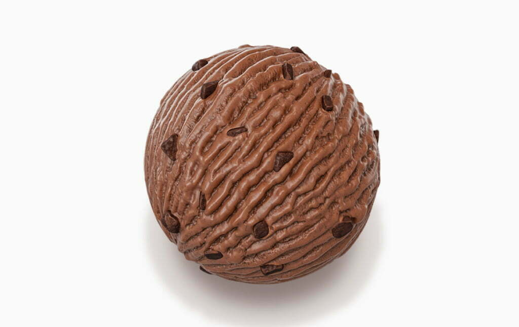 3D Double Chocolate Chip Ice Cream Ball Food Illustration Thumbnail