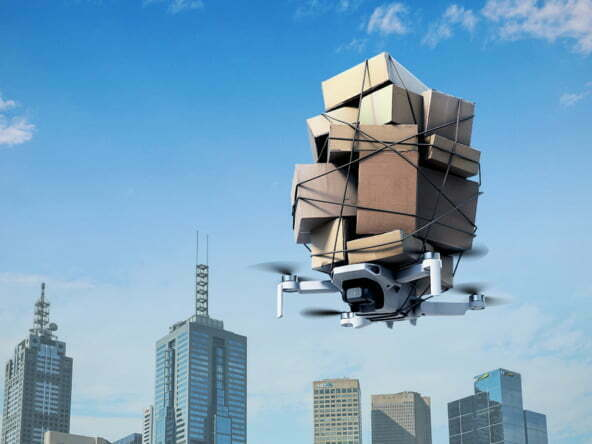3D Drone Delivery Over City Technology Illustration Thumbnail