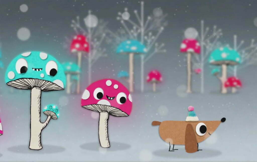 2D animation christmas dog animated promo video