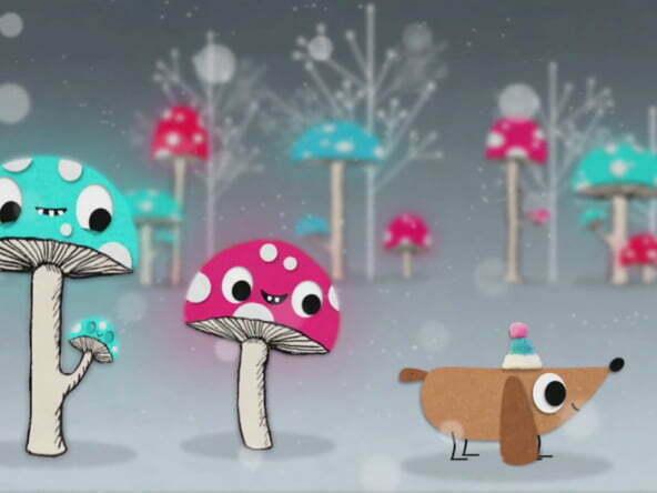 2D animation christmas dog animated promo video