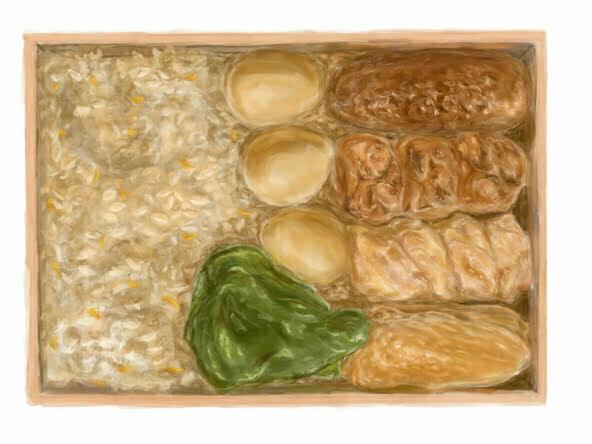 2D dim sum food box illustration