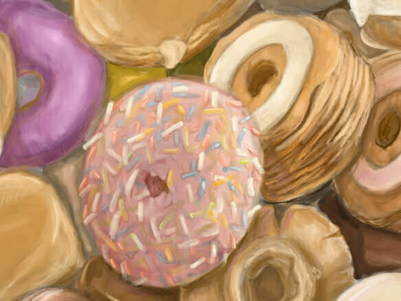 2D mixed Doughnuts food illustration