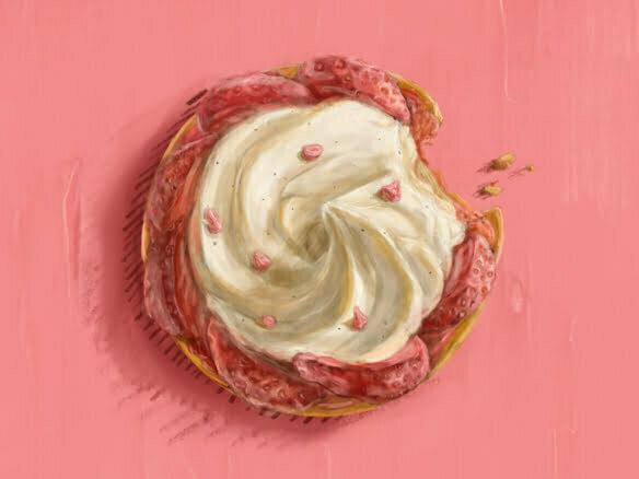 2D strawberry tart cake food illustration