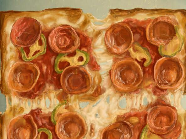 2d pizza Colony pepperoni square pizza food illustration