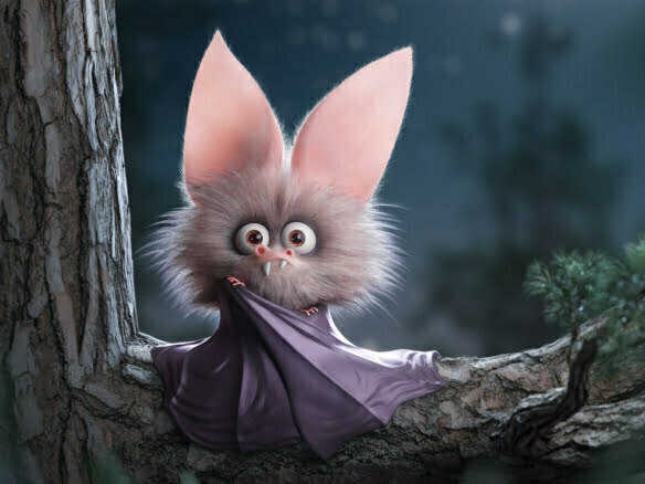 3D Bat Cartoon Character Fantasy Illustration