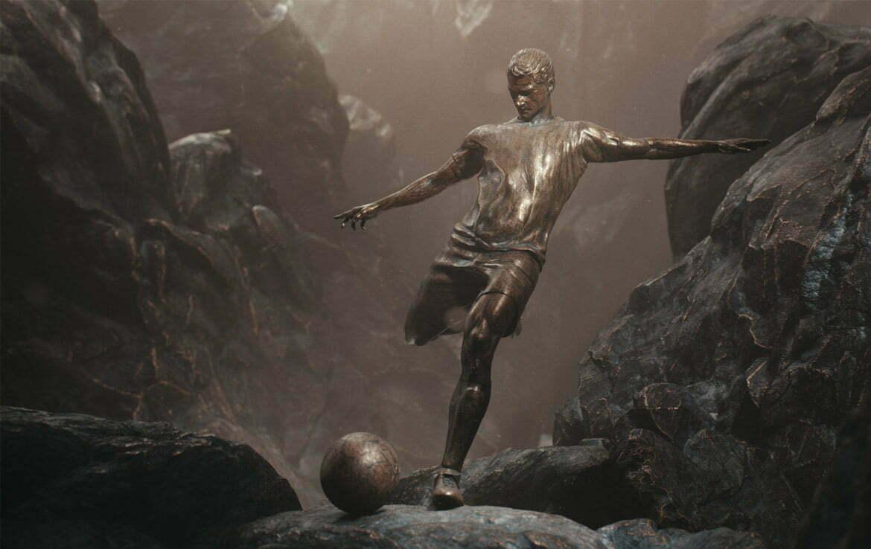 3D Bronze Football Character CG Illustration