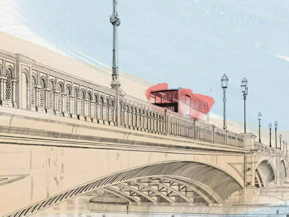 2D Architecture Water Colour London Bridge Illustration