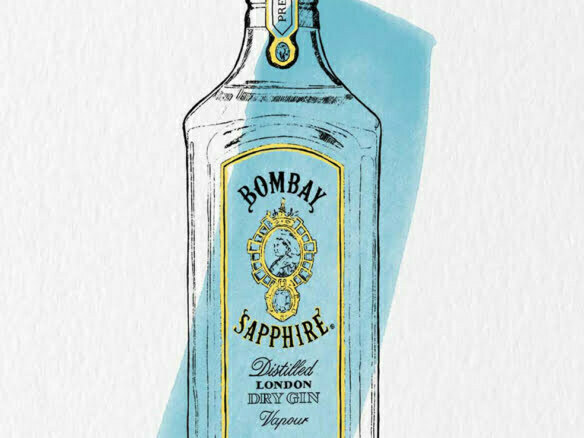 2D Brands Illustration Bottle Drinks Bombay Sapphire